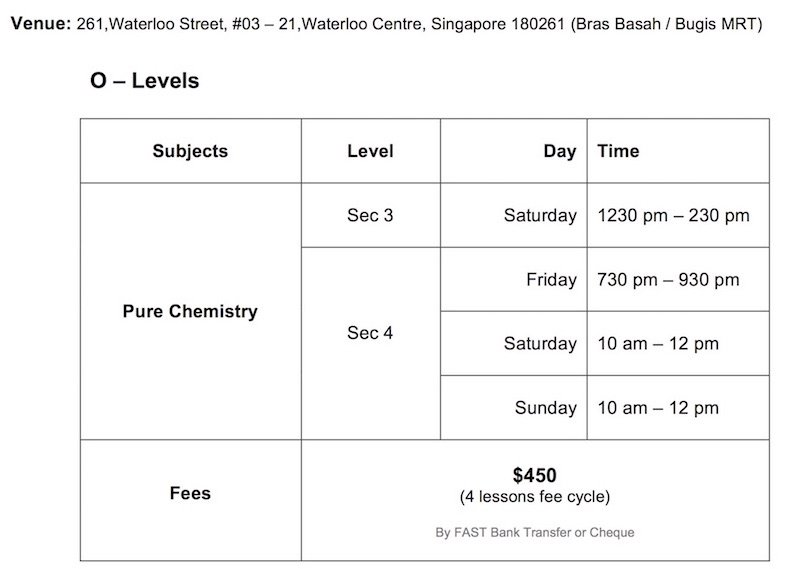 O-Level Pure Chemistry Weekly Tuition Classes Schedule 2017