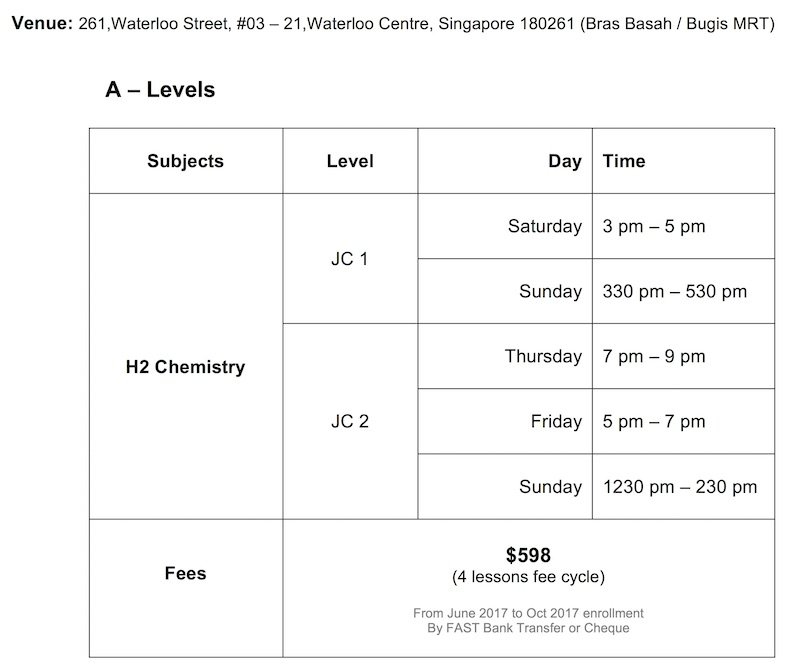 Winners Education A-Level JC H2 Chemistry 2017 Class Schedule Taught by Ten-Years-Series Author Sean Chua