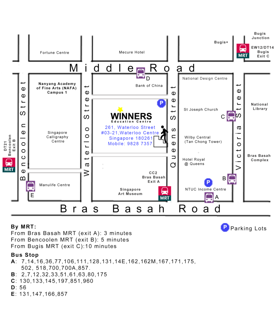 Winners Education Centre 261, Waterloo Street, #03-21, Waterloo Centre, Singapore 180261