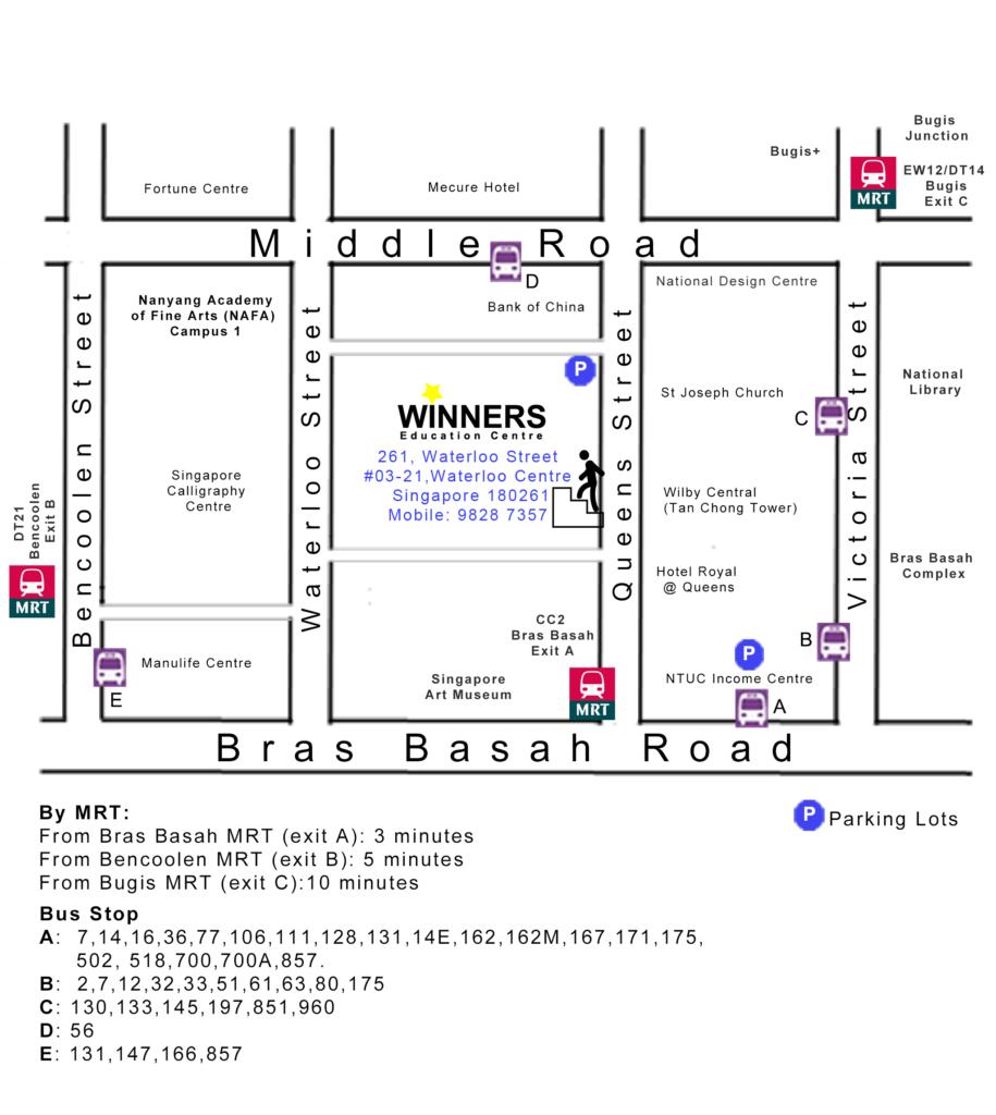Winners Education Centre 261, Waterloo Street, #03-21, Waterloo Centre, Singapore 180261