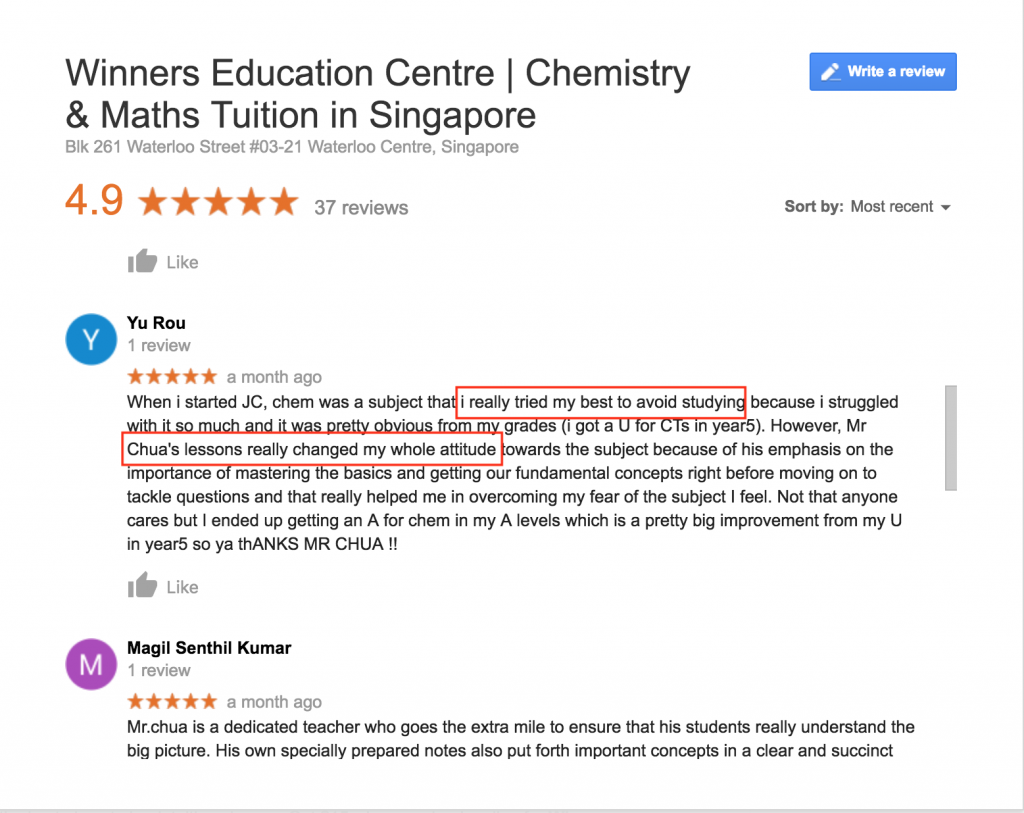 Puar Yu Rou RI H2 Chemistry Tuition Review of Winners Education on Google