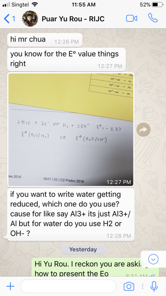 Puar Yu Rou RI H2 Chemistry Tuition WhatsApp Support