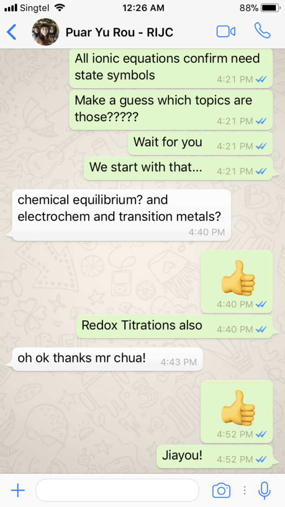 Puar Yu Rou RI H2 Chemistry Tuition WhatsApp Support