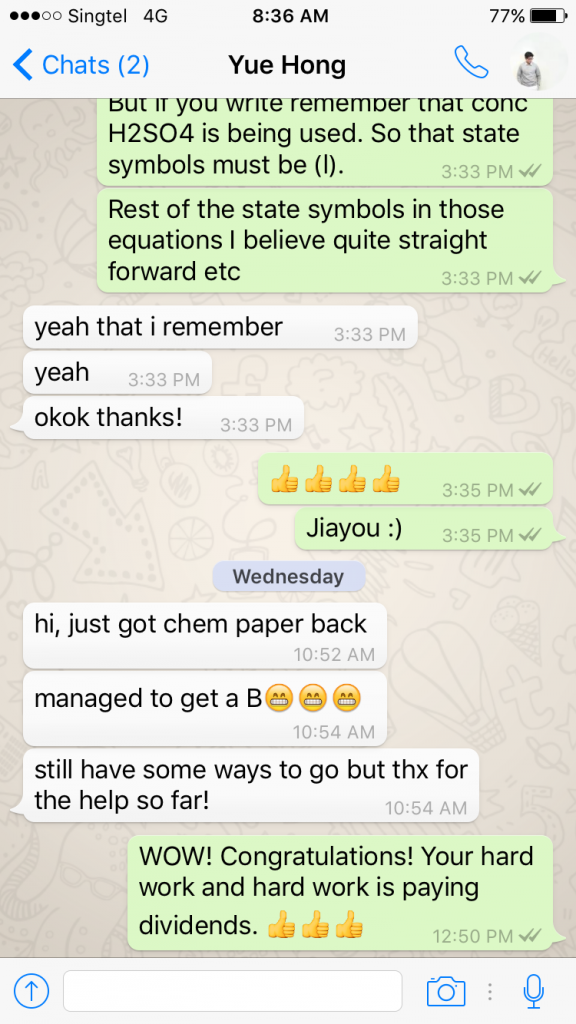 Puar Yue Hong RI H2 Chemistry Tuition Preliminary Result