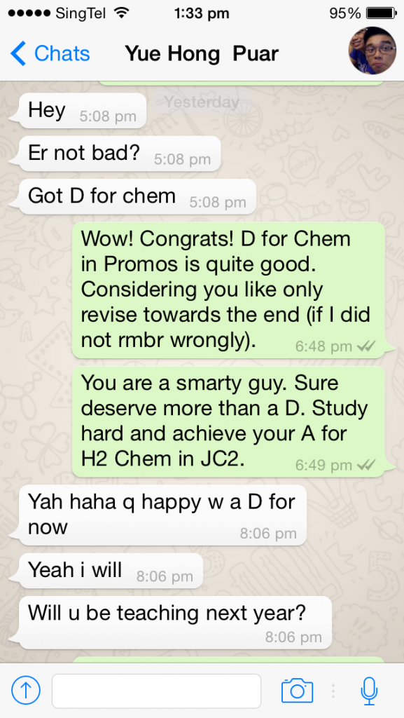 Puar Yue Hong RI H2 Chemistry Tuition Year 5 Promotional results